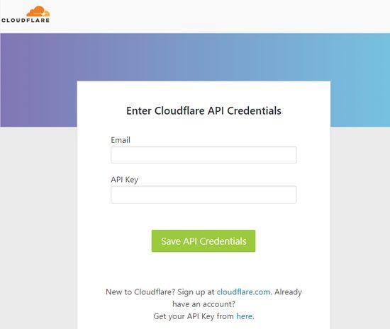 Trên màn hình tiếp theo, hãy nhập API key và email Cloudflare.