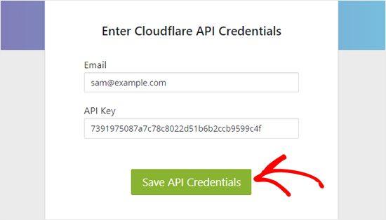 Tiếp theo, trở lại bảng điều khiển WordPress và nhập địa chỉ email, khóa API vừa nãy.