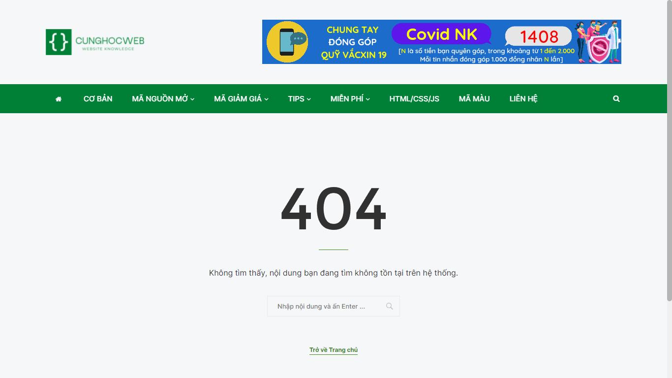 Chuyển hướng 404 về trang chủ trong WordPress