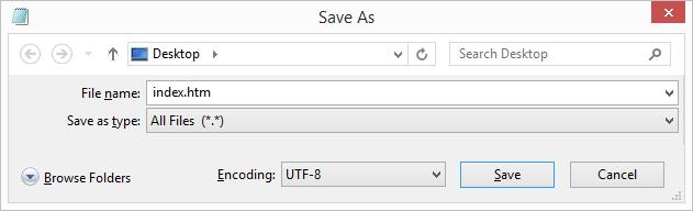 Lưu file HTML trên local