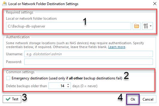 Tùy chọn dữ liệu backup