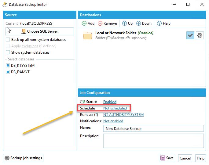 Set lịch backup tự động